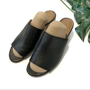 Madewell Devon leather mule wooden slip on heels